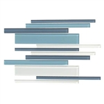 American Olean Color Appeal Glass Blends - C130 Blue Moon Blend - Random Interlocking Linear Glass Tile Mosaic - Glossy