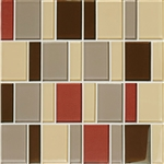 "American Olean Color Appeal Renewal Entourage - 3"" Block - C131 Earth Fire Blend - Glass Mosaic Tile"