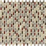 American Olean Color Appeal Renewal Entourage - Chain Link - C131 Earth Fire Blend - Micro Brick Glass Mosaic Tile