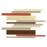 American Olean Color Appeal Glass Blends - C131 Earth Fire Blend - Random Interlocking Linear Glass Tile Mosaic - Glossy