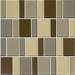 "American Olean Color Appeal Renewal Entourage - 3"" Block - C132 Pecan Grove Blend - Glass Mosaic Tile"
