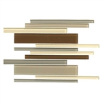 American Olean Color Appeal Glass Blends - C132 Pecan Grove Blend - Random Interlocking Linear Glass Tile Mosaic - Glossy