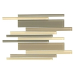 American Olean Color Appeal Glass Blends - C133 Sand Storm Blend - Random Interlocking Linear Glass Tile Mosaic - Glossy