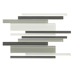 American Olean Color Appeal Glass Blends - C134 Silver Spring Blend - Random Interlocking Linear Glass Tile Mosaic - Glossy