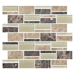 "American Olean Color Appeal Blends - C137 Pebble Beach Blend - 3"" X Random Interlocking Glass & Stone Mosaic Tile - Sample"