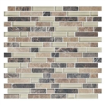 American Olean Color Appeal Blends - C137 Pebble Beach Blend - 5/8 X Random Linear Interlocking Glass & Stone Mosaic Tile