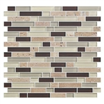 American Olean Color Appeal Blends - C138 Canyon Trail Blend - 5/8 X Random Linear Interlocking Glass & Stone Mosaic Tile - Glossy - Sample