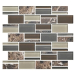 "American Olean Color Appeal Blends - C139 Tortoise Shell Blend - 3"" X Random Interlocking Glass & Stone Mosaic Tile - Sample"