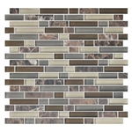 American Olean Color Appeal Blends - C139 Tortoise Shell Blend - 5/8 X Random Linear Interlocking Glass & Stone Mosaic Tile