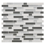 American Olean Color Appeal Blends - C140 Mountain Morning Blend - 5/8 X Random Linear Interlocking Glass & Stone Mosaic Tile - Glossy - Sample