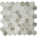American Olean Entourage Crosswood Hexagon Glass - CR95 Seagull - Wood Look Glass Tile Mosaic