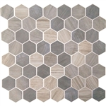 American Olean Entourage Crosswood Hexagon Glass - CR96 Pelican - Wood Look Glass Tile Mosaic