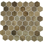 American Olean Entourage Crosswood Hexagon Glass - CR97 Sandpiper - Wood Look Glass Tile Mosaic