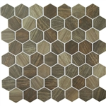 American Olean Entourage Crosswood Hexagon Glass - CR98 Heron - Wood Look Glass Tile Mosaic