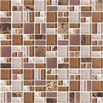 American Olean Entourage Fortify - FF03 Ember - Block Random Glass & Stone Mosaic Tile