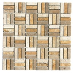 Tumbled Travertine Brick Stick Basketweave Mosaic - 5/8 X 2 Mix of Tumbled Classic. Noce, and Gold Travertine