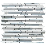 Carrara White Marble - Bamboo Sticks Mix #2 - 5/16 X Random Length Mini Brick Strip Mosaic - POLISHED