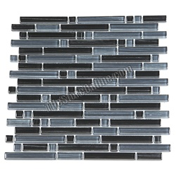 Glass Tile - Mixed Size Strips Bellavita Bamboo Glass Tile Mosaic - BS005 Black Blend - Glossy