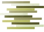 Bellavita Corduroy Linear Glass Tile - BVTCOCEO Ceder Green Blend - Strip Stick Glass Tile Mosaic - Glossy