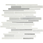 Bellavita Cashmere - CMAF Arctic Fox - Textured Hand Brushed Linear Strip Glass Tile Mosaic