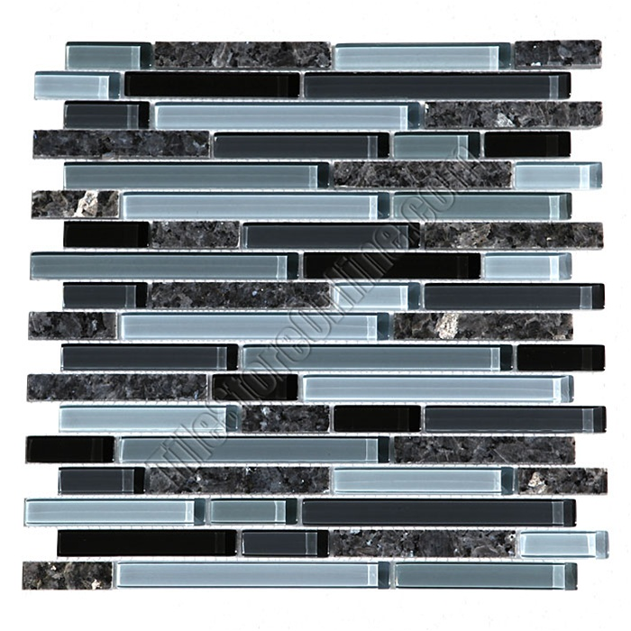 Gl Tile Bellavita Sierra Vista Svbpg Blue Pearl Blend Mixed Size And Polished Granite Mosaic Glossy