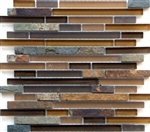 Linear Glass and Stone Mosaic Tile - Arizona Mesa Mix - Strip Sticks of Slate and Glass Tile