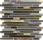 Linear Glass and Stone Mosaic Tile - Arizona Tucson Mix - Strip Sticks of Slate and Glass Tile