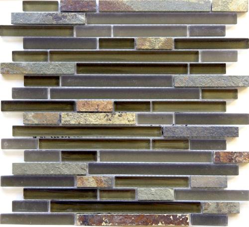 Linear Gl And Stone Mosaic Tile Arizona Tucson Mix Strip Sticks Of Slate