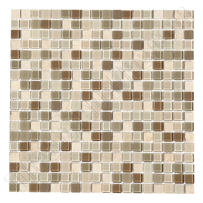 Gl And Stone Mosaic Tile Matrix 4 Gl09 Suede Blend 5 8 X Crema Marfil
