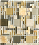 Glass and Stone Mosaic Tile - Luxe Chic Mix - Multi Size Honey Onyx and Glass Tile Mosaic