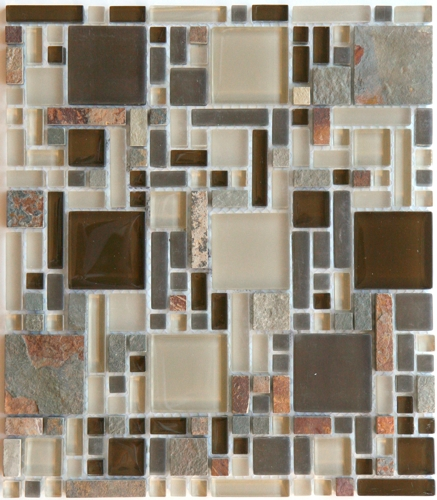 Gl And Stone Mosaic Tile Luxe Rustic Mix Multi Size Slate
