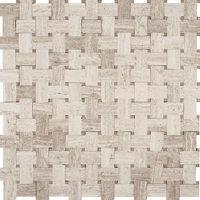 Basketweave Marble Mosaic Tile White Oak Wood Silver Beige Basket Weave With Athens Gray Dot Polished