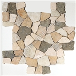 Flat Pebble Stone Mosaic - Merak Interlocking Flat Cut Stone Mosaic - Tumbled