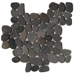 River Rock Pebble Stone Mosaic - Bali Black Interlocking Pebble Mosaic