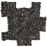 River Rock Small Pebble Stone Mosaic - Star Black Interlocking Small Pebble Mosaic