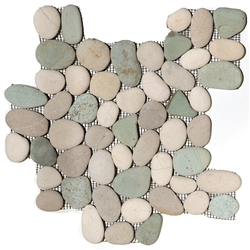 River Rock Pebble Stone Mosaic - Turtle Mix Interlocking Pebble Mosaic