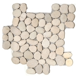 River Rock Pebble Stone Mosaic - Timor White Interlocking Pebble Mosaic