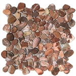 Sliced Flat Cut Pebble Stone Mosaic - Canyon Red Interlocking Cut Stone Pebble Mosaic