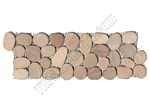 Maluku Tan Sliced Flat Cut Pebble Stone Intrlocking Border Liner