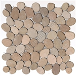 Sliced Flat Cut Pebble Stone Mosaic - Maluku Tan Interlocking Cut Stone Pebble Mosaic