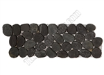 Sliced Flat Cut Pebble Stone Border - Swarthy Black Interlocking Cut Stone Pebble Liner