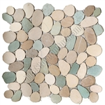Sliced Flat Cut Pebble Stone Mosaic - Turtle Mix Interlocking Cut Stone Pebble Mosaic
