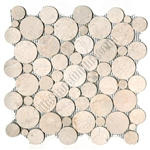 Circle Round Cut Pebble Stone - Bubble Cream Tan Interlocking - Sliced Flat Round Cut Stone Mosaic