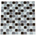 Glass Tile Mosaic - 1X1 Glass Tile Mosaic - GA1015 Black Gray Blend - Glossy