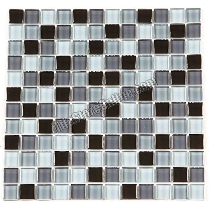 Gl Tile Mosaic 1x1 Ga1015 Black Gray Blend Glossy