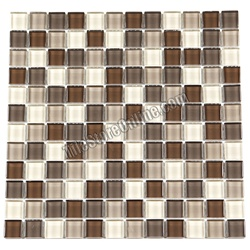 Glass Tile - 1X1 Glass Tile Mosaic - GA1016 Latte Blend - Glossy