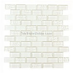 Glass Tile - 1 X 2 Glass Tile Brick Subway Mosaic - GA3001 Ice White Blend - Glossy, Frosted, Rippled