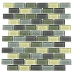 Glass Tile - 1 X 2 Glass Tile Brick Subway Mosaic - GA3002 Forest Mist Blend - Glossy