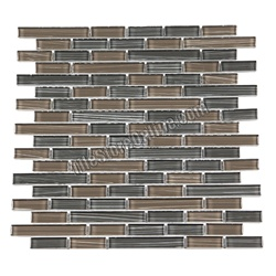 Glass Tile - Mixed Size Glass Tile Strips Sticks Glass Tile Linen Bamboo Mosaic - GA4005 Linen Bamboo Earth Gray Blend - Glossy