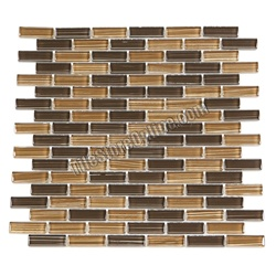Glass Tile - 5/8X2 Glass Tile Mini Brick Strips Subway Glass Tile Linen Bamboo Mosaic - GA4009 Chocolate Caramel Blend - Glossy